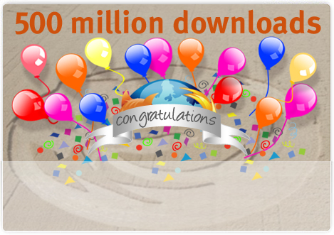 Firefox hits 500,000,000 downloads