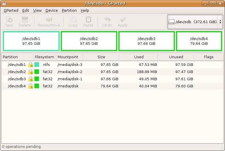 Gparted partition manager