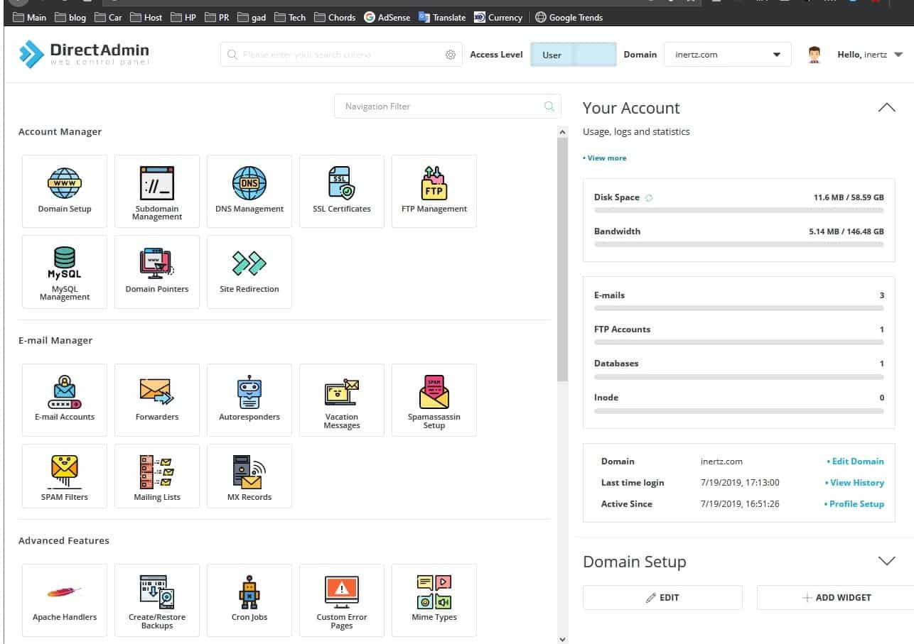 Direct admin interface